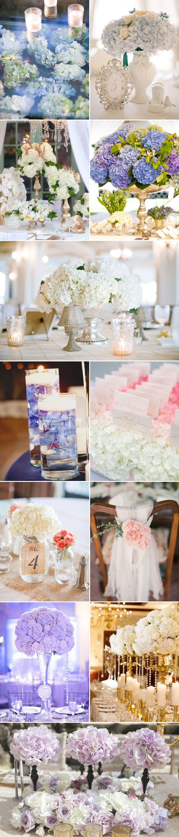 37 Beautiful Ways to decorate your wedding with hydrangeas - Reception Decoration