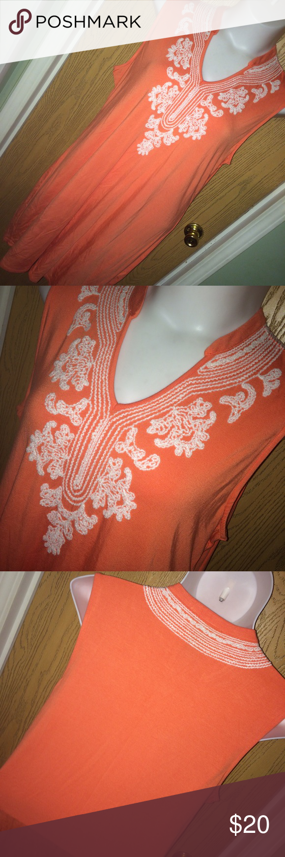 """Coral embroidered tank dress Cute coral and white embroidered tank dress. Size XXL 95% rayon 5% spandex. 24"""" from armpit to armpit, 29"""" from armpit to hem Grace Elements Dresses Mini"""
