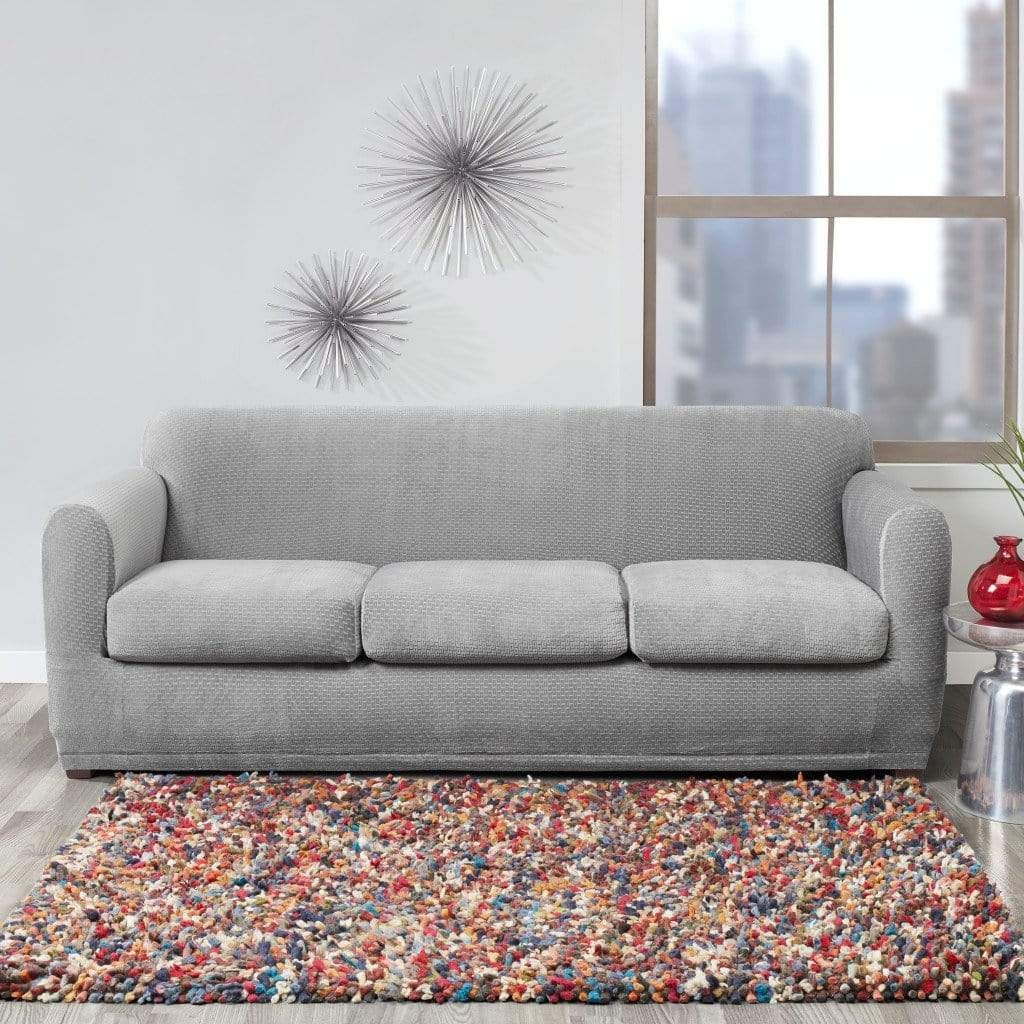 Stretch Modern Block Four Piece Sofa Slipcover Form Fit