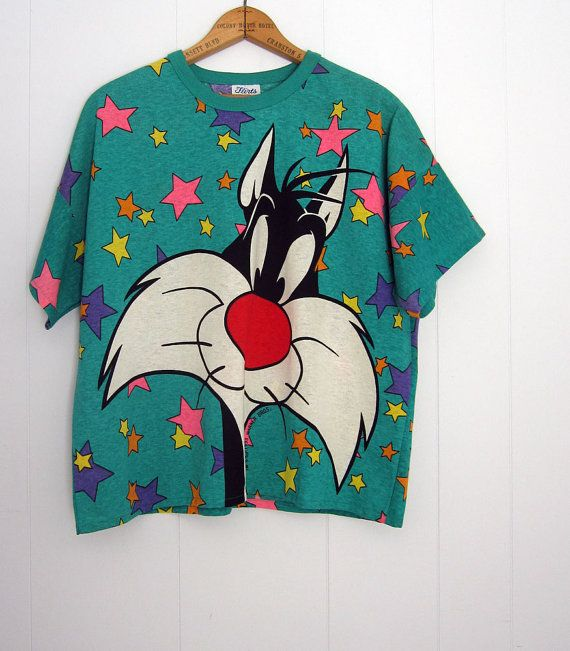 Rare Vintage Looney tunes Sylvester Cat Boxy 90s T by thefamilyvtg, $23.00