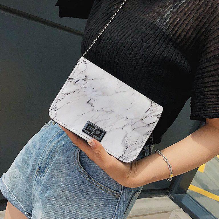 Bags Marble Pattern Shoulder Bag Lock Buckle Wild Messenger Small Square Marble White Bag Designer Handbags