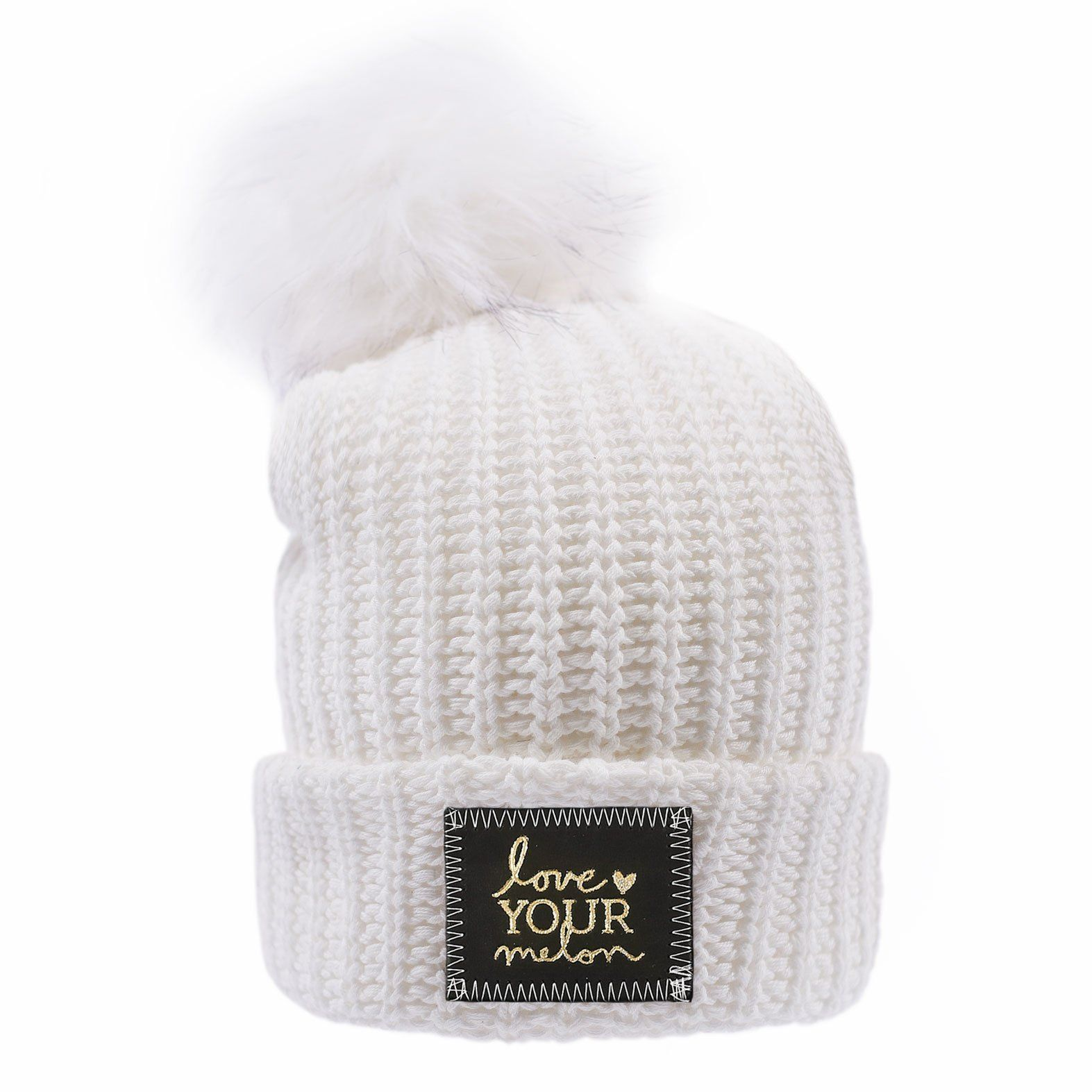 745e9f804df77 Love Your Melon White Gold Foil Cuffed Pom Beanie