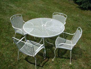 white wrought iron patio set wrought