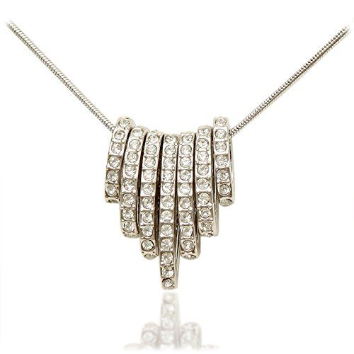 Women's Beautiful Box Style Necklace With Oval Pave Cryst...