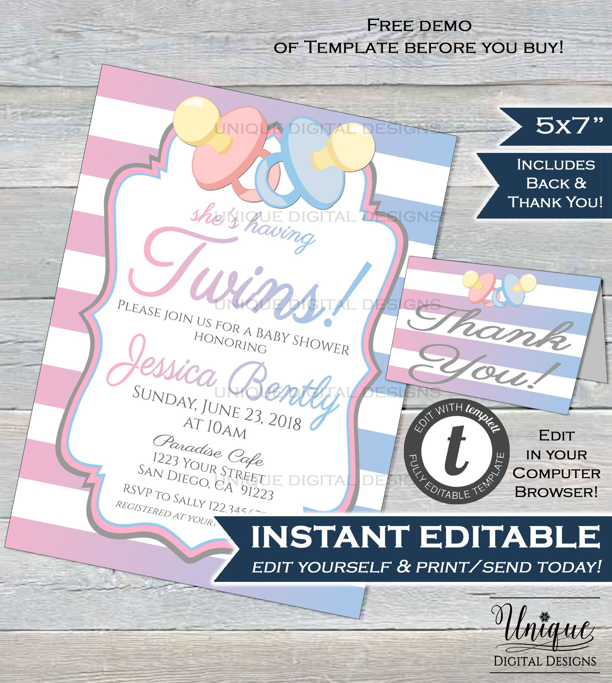 Twins Baby Shower Invitation Editable