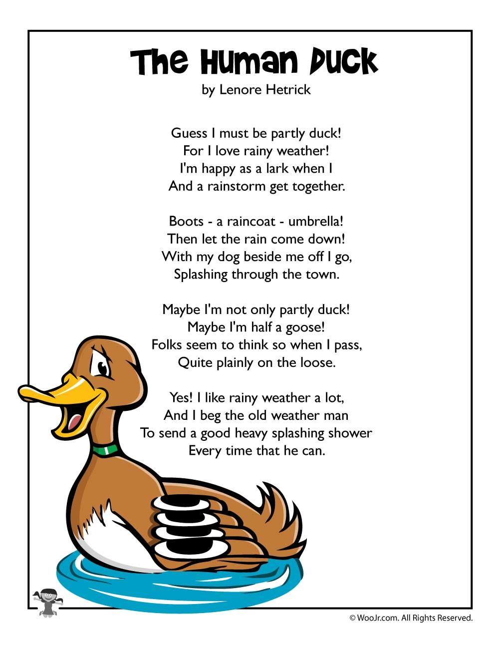 Spring Poem - The Human Duck   Woo! Jr. Kids Activities   Kids poems [ 1294 x 1000 Pixel ]