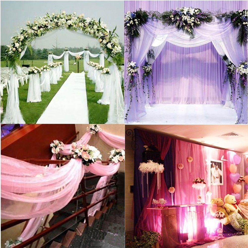 Romantic Sheer Roll Wedding Chair Sash Table Runner Swag Party Wedding Decor S