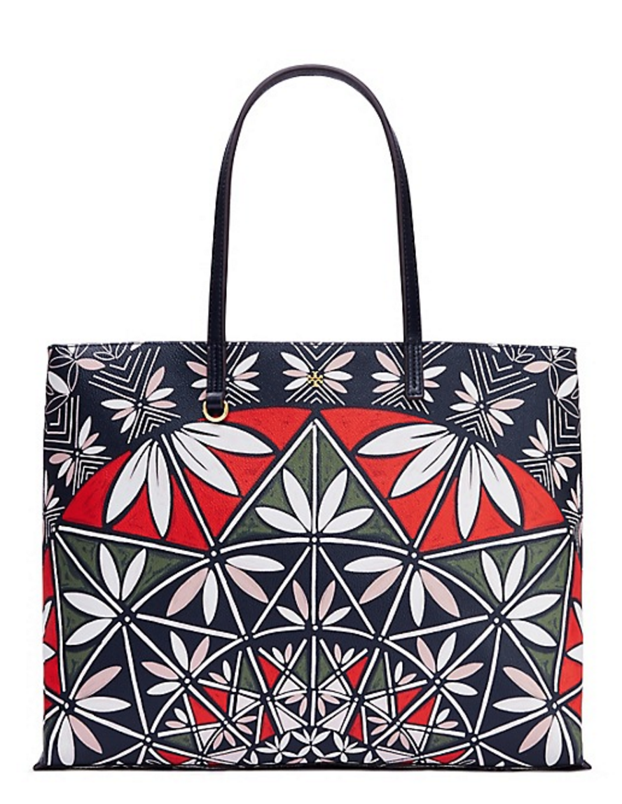 navy patterned tote