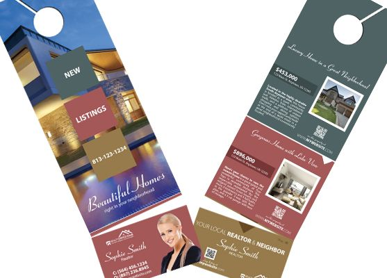 Real Estate Door Hanger Rip Cards Template 06 Door Hanger Rip Cards Door Hanger Printing Cards Business Card Holders
