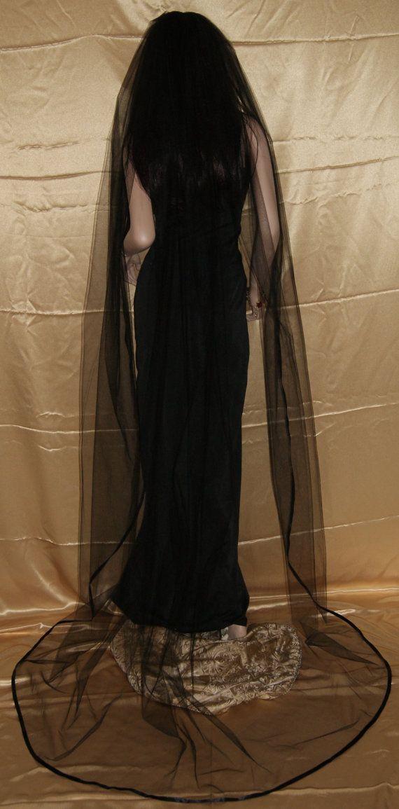 Gothic Black Cathedral wedding veil costume one by GothiXXbyElena, $29.99