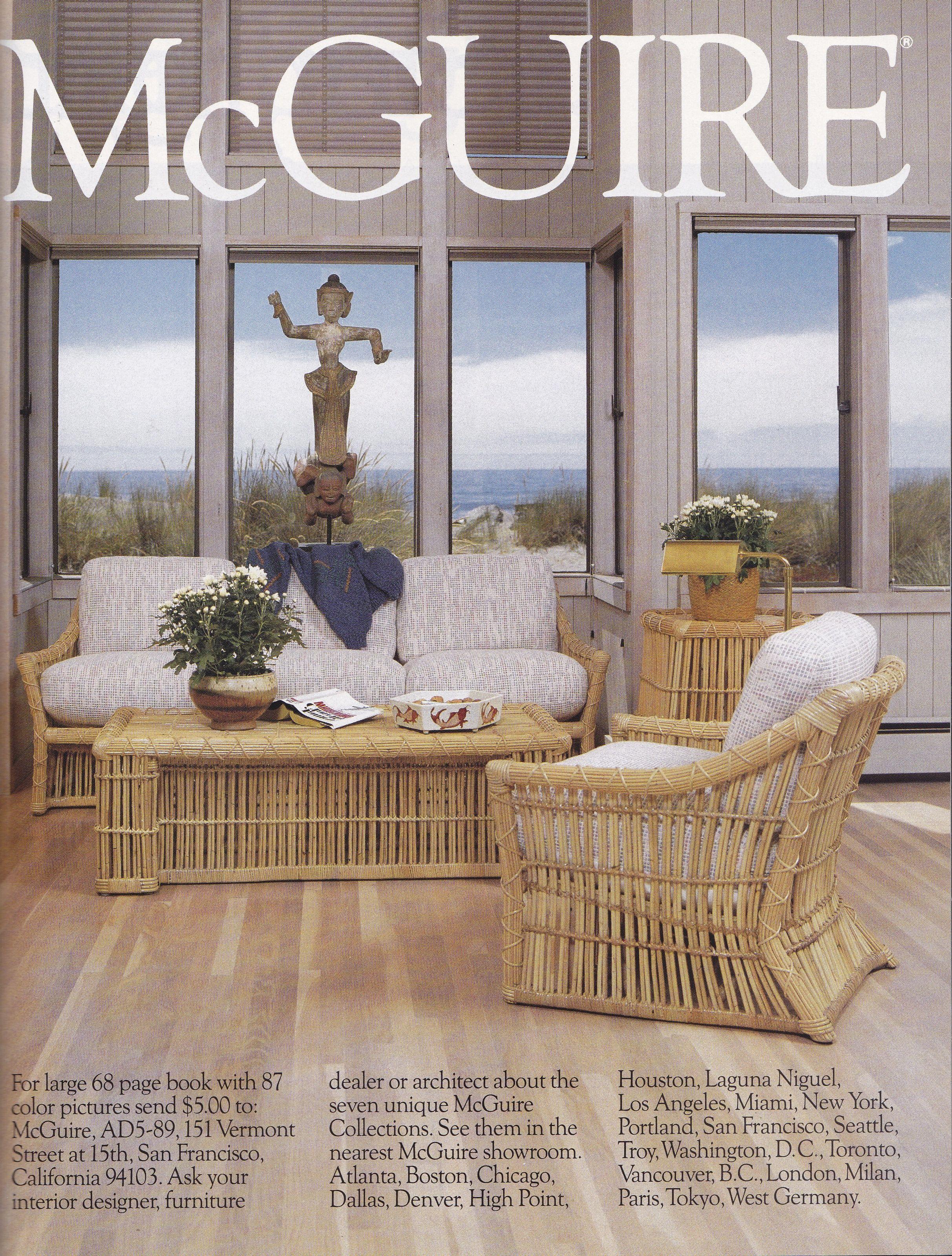 McGuire Furniture AD 1992, Stinson Beach.