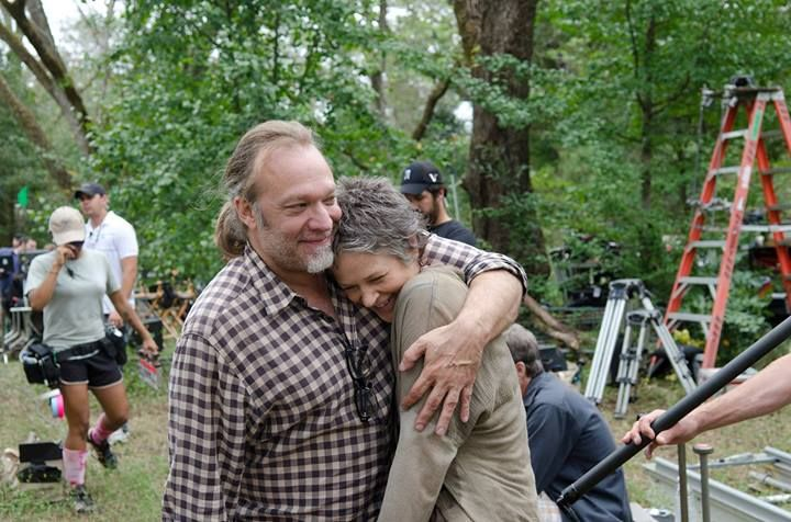 The Walking Dead. on the set with Greg Nicotero & Melissa McBride