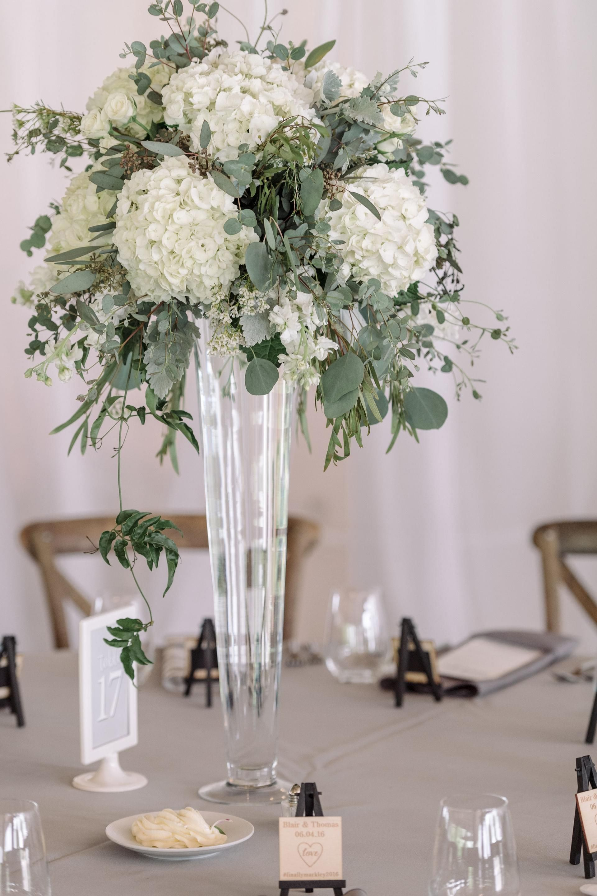 Pilsner Vase with White Hydrangea Eucalyptus Dusty