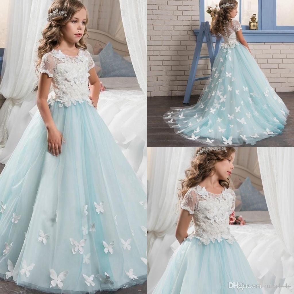 Cheap 2018 New Tulle Lace Long Sleeves Ball Gown Floor Length Flower ...
