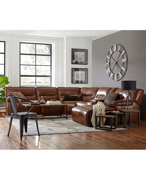 Beckett Leather Power Reclining Sectional Sofa Collection Created For Macy S Open Concept