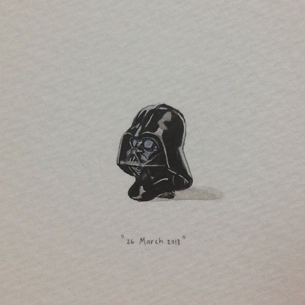 Day 85 : I am your father. (for Hugo, from Angie). 12 x 16 mm. #365paintingsforants #darthvader #starwars (at Vredehoek)