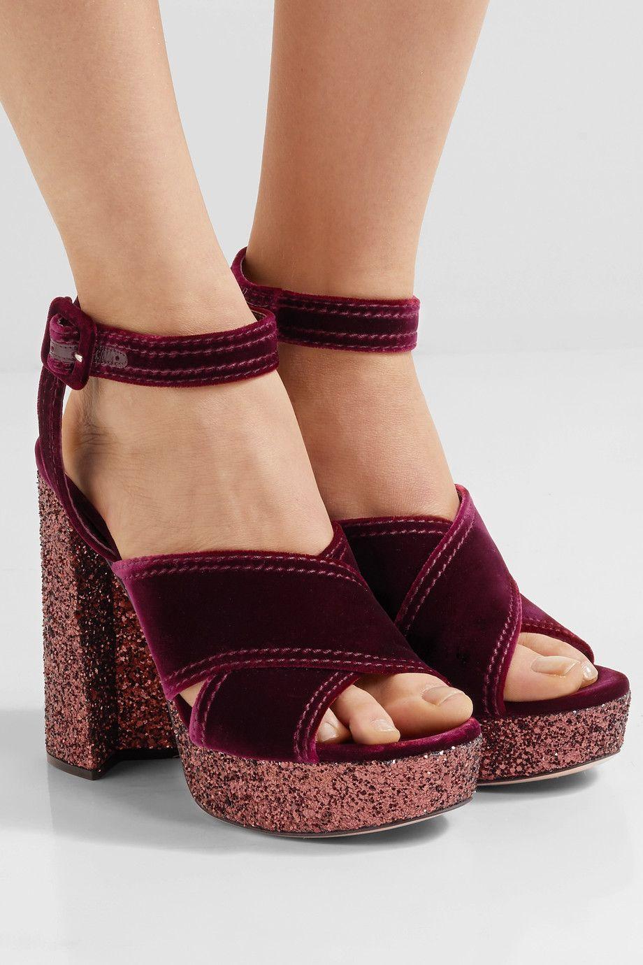 Miu Miu Velvet platform sandals free shipping big sale uQVcYqYx