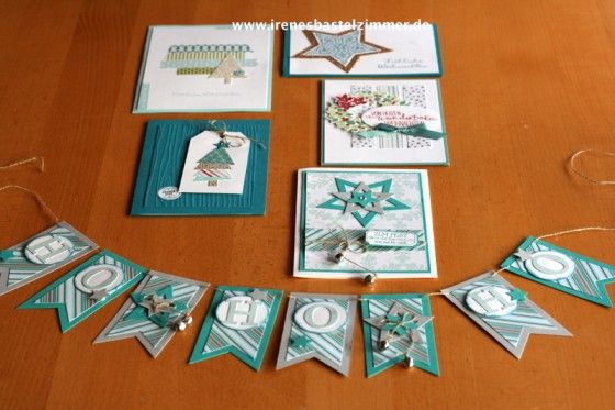 Stampin' Up! Weihnachtskarten - Ho, Ho, Ho banner and a selection of cards.