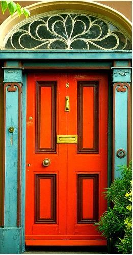 """""""Life is too short not to have an orange & turquoise door.""""  Jenny Holt"""