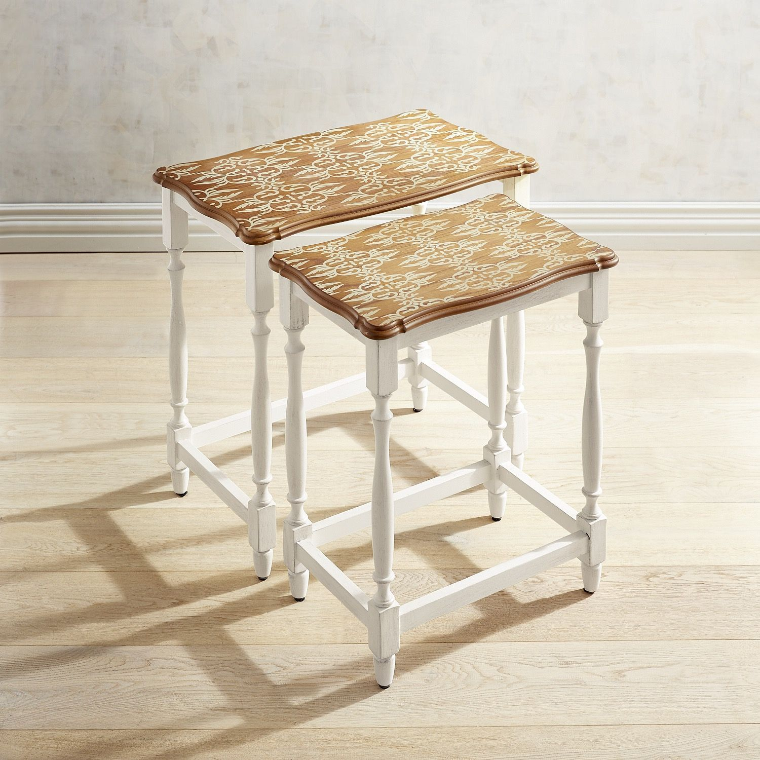 Pattern Top Wood Nesting Tables White