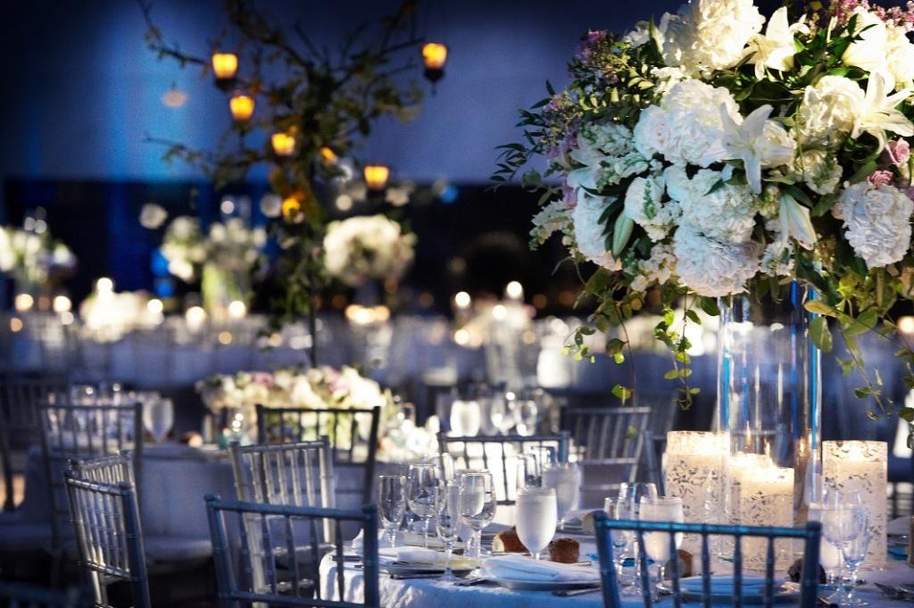 Blue Wedding Reception Decorations Reception Decor White Flowers