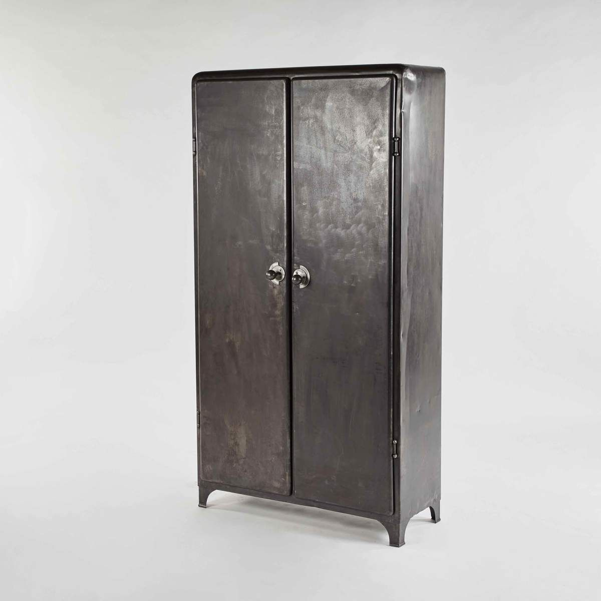 An Industrial Metal Cabinet With Unique Ball Handles And Interior