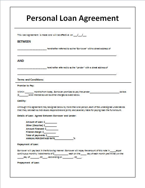 Personal Loan Agreement Template And Sample Charity Best