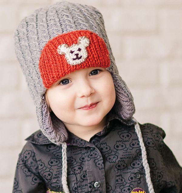 теплая детская шапка с ушками вязаная спицами для мальчика отворот