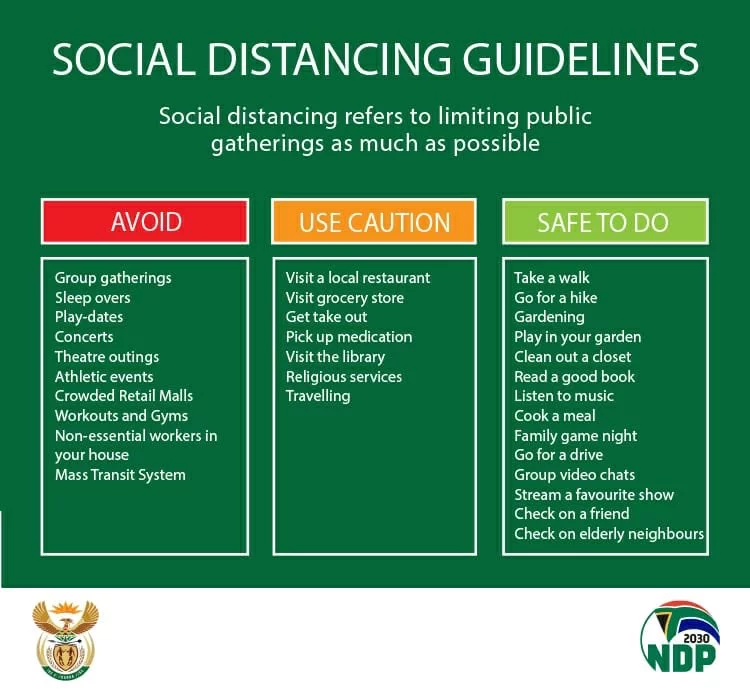Social distancing what South Africa's government wants