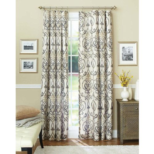 better homes and gardens ikat scroll curtain panel: decor