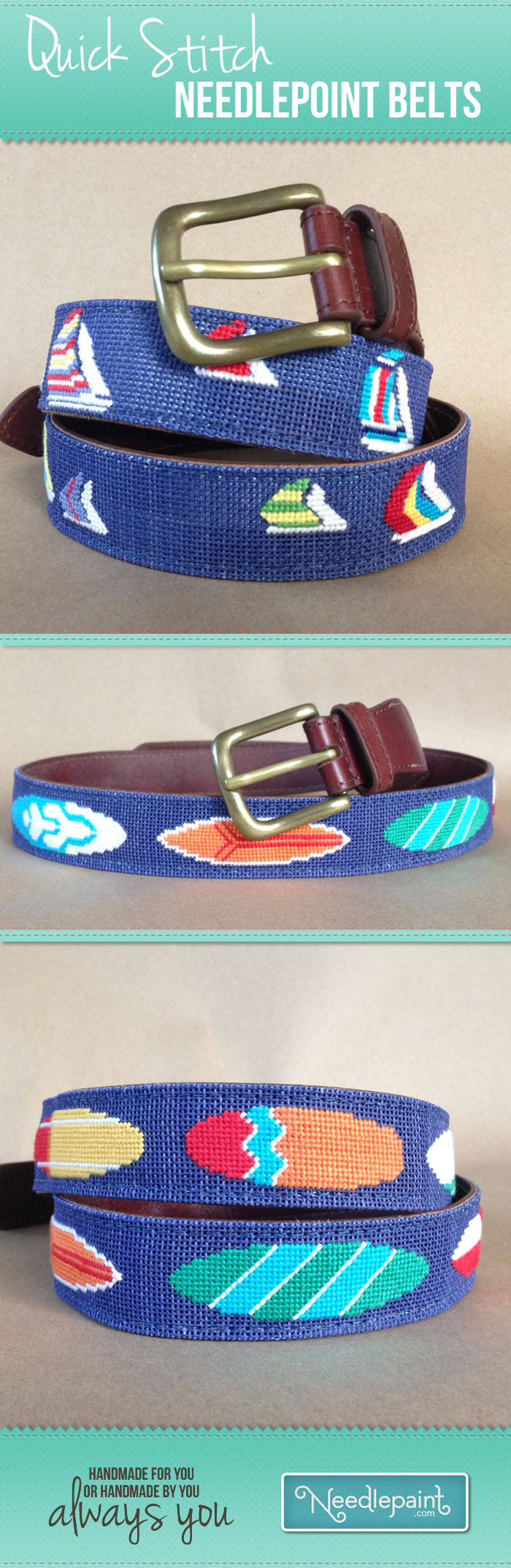 Quick Stitch #Needlepoint Belts. A lot faster to stitch and still looks great! Learn more about the open weave concept on our blog. #preppy www.needlepaint.com