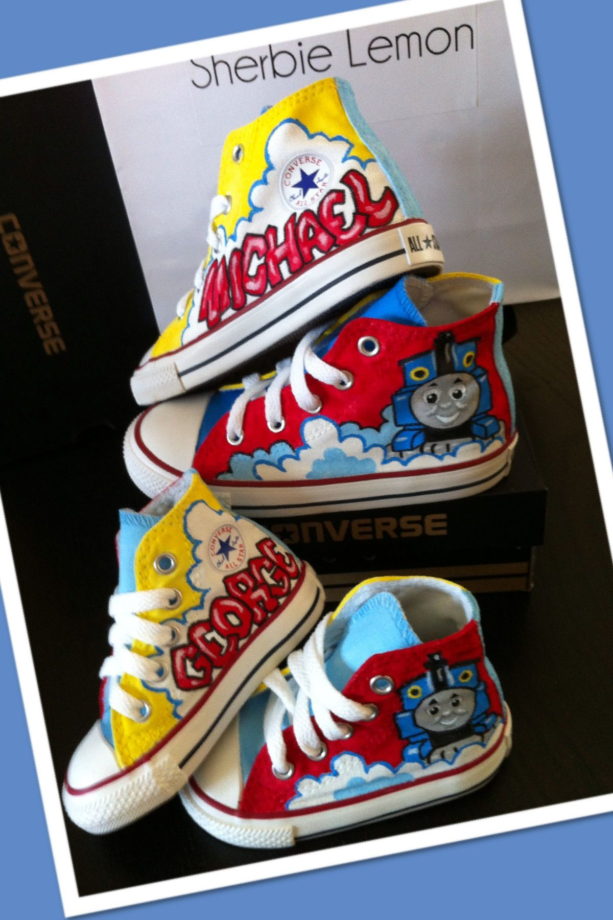 72b5626e2297 order your cool kids character custom converse shoes at  www.facebook.com sherbielemon Thomas the tank converse