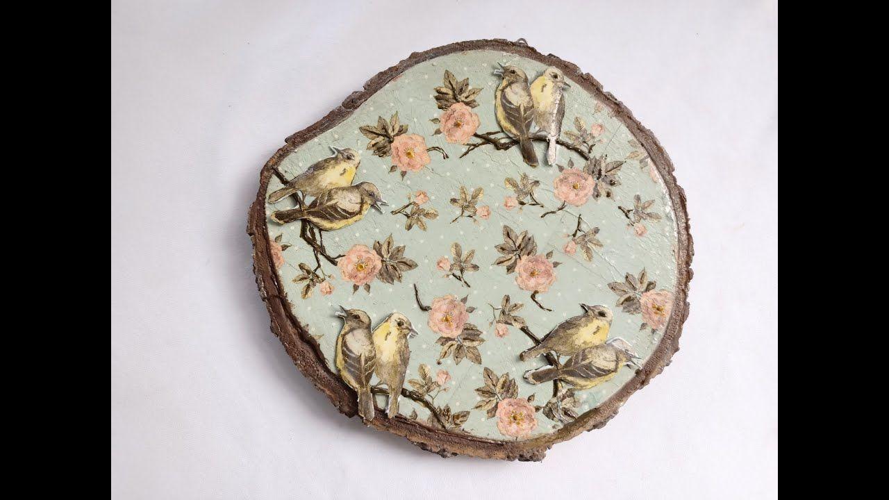 ديكوباج عصافير على جزع شجرة تابلوه مميز Pot Holders Handicraft Pot