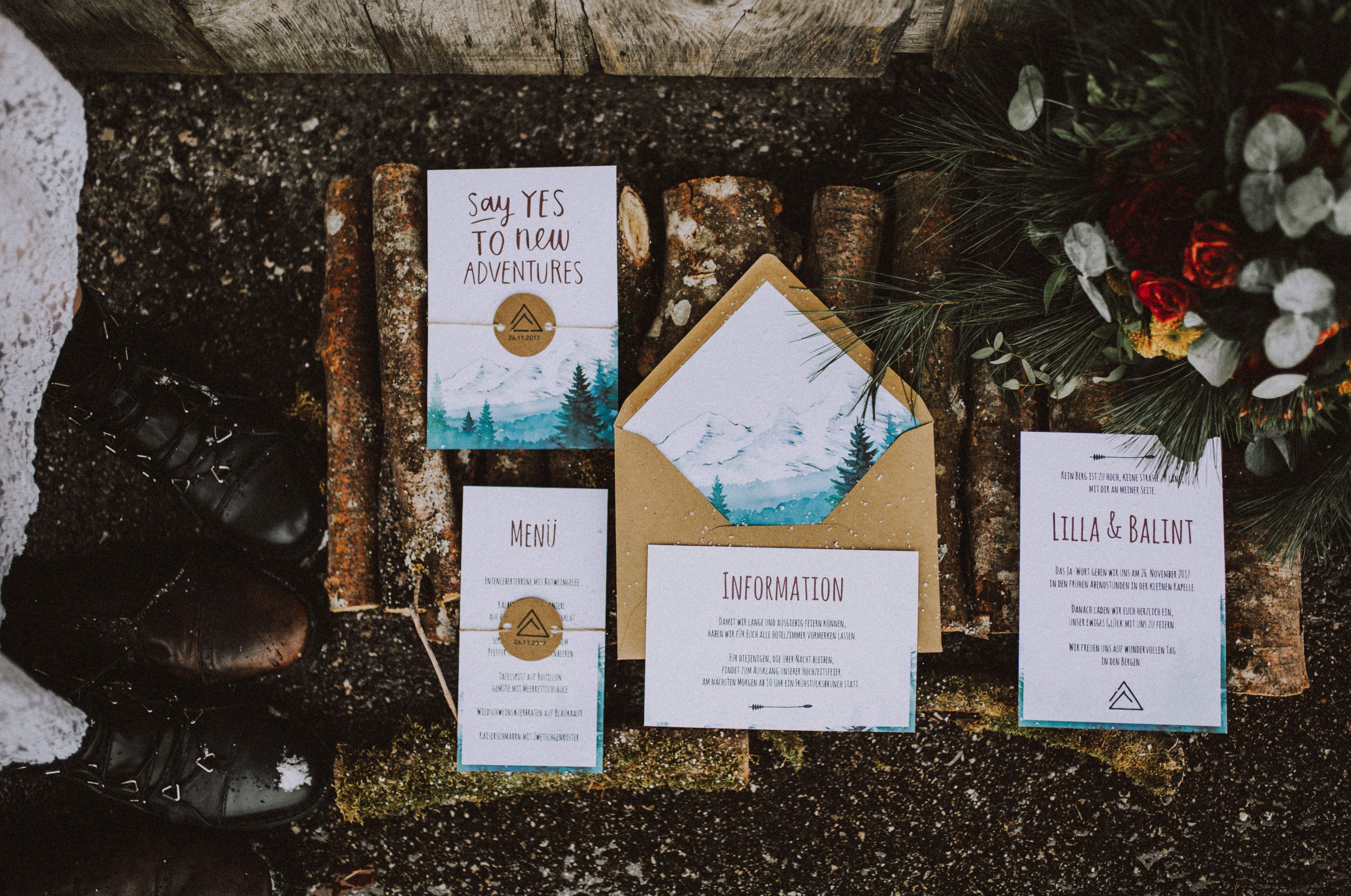 Einladung Winterhochzeit Alm Hochzeit Berge Kuvertliner Hochzeitseinladung Einladungen Karte Hochzeit