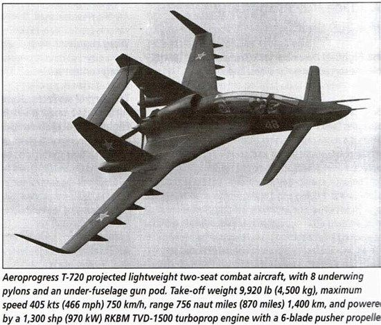 Russian Aeroprogress T 720 A Lightweight Pusher Turboprop Two Seat Attack Aircraft With 8 Wing Pylons And Under Fu Aircraft Aircraft Design Fighter Jets