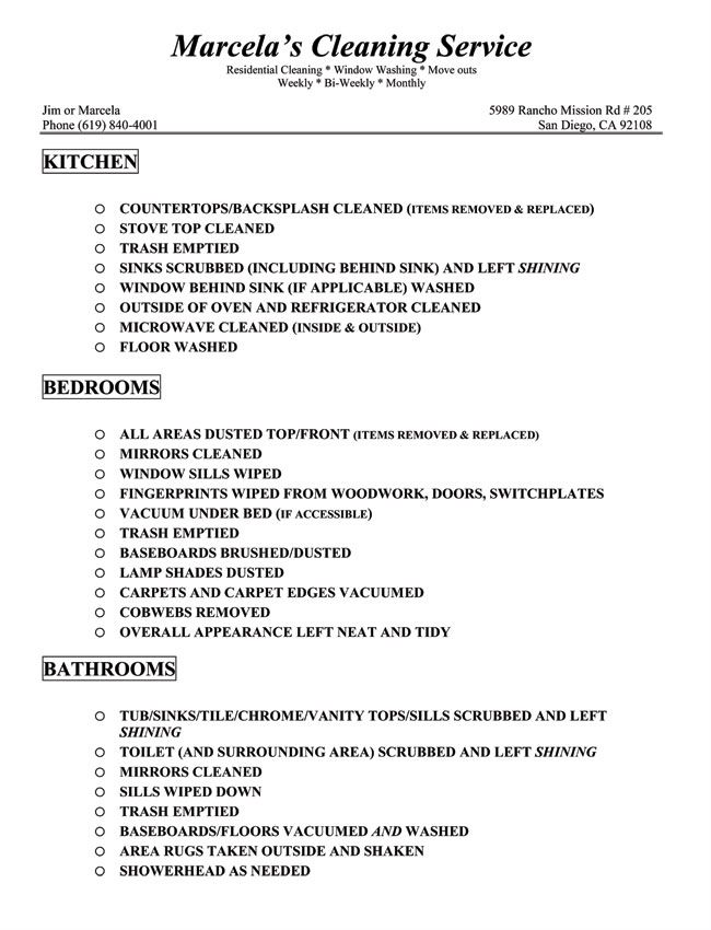 Image detail for -Residential House Cleaning Flyers Cleaning - sample new apartment checklist