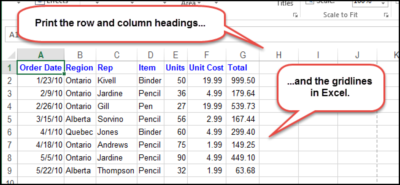 How To Print The Gridlines And Row And Column Headings In Excel Column Excel Words