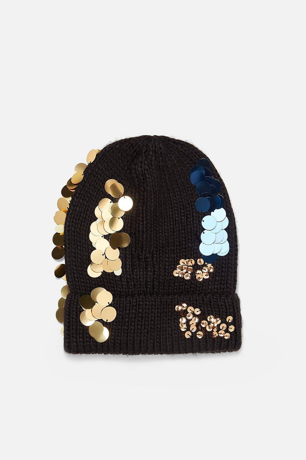 Image 1 Of Sequin Beanie From Zara Knitted Hats Beanie Head Accessories