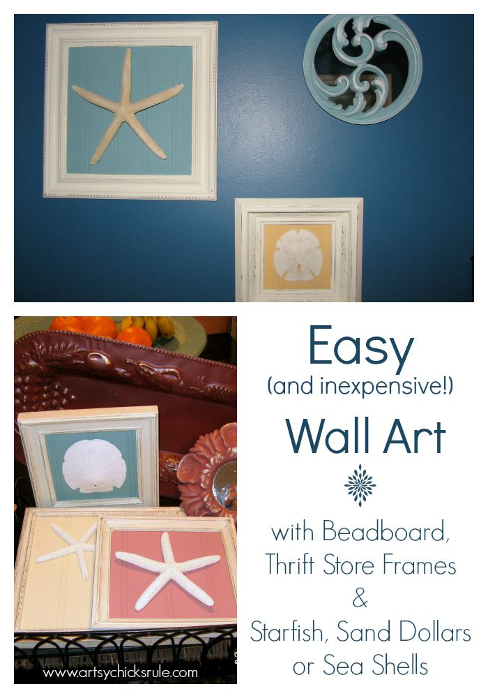 Simple Art with leftover beadboard, thrift store frames and starfish, sand dollars or shells - artsychicksrule.com