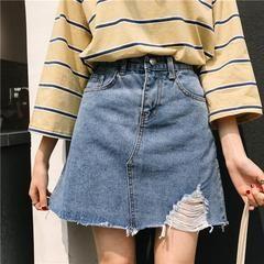 Itgirl Shop Denim Above Knee Side Ripped Cute Skirt Aesthetic