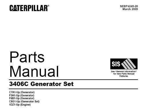 Download Complete Parts Manual for Caterpillar CAT 3406C Generator