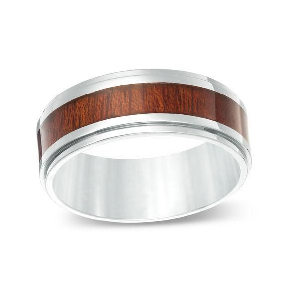 Zales Mens 8.0mm Wood Grain Inlay Comfort Fit Wedding Band in Titanium (1 Line)