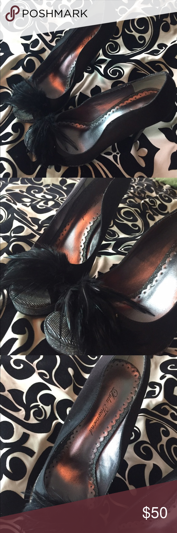 Lulu Townsend black leather heels Super sexy black heels. With silver trim.and feather peep toe. Lulu Townsend Shoes Heels