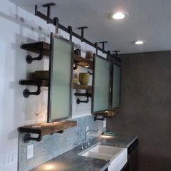 Upcycled Shelving W Rollers Vintage Bathrooms Eclectic Kitchen