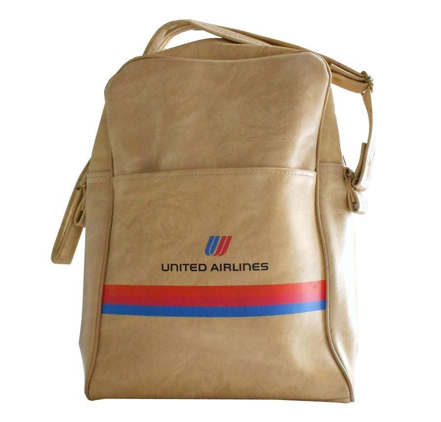 e73fef0575 1980s · Larger · Vintage UNITED AIRLINES vinyl travel bag