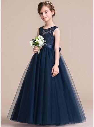 9e478ea9f2 Corte A Princesa Hasta el suelo Vestidos de Niña Florista -  Satén Tul Encaje Sin mangas Escote redondo con Fajas