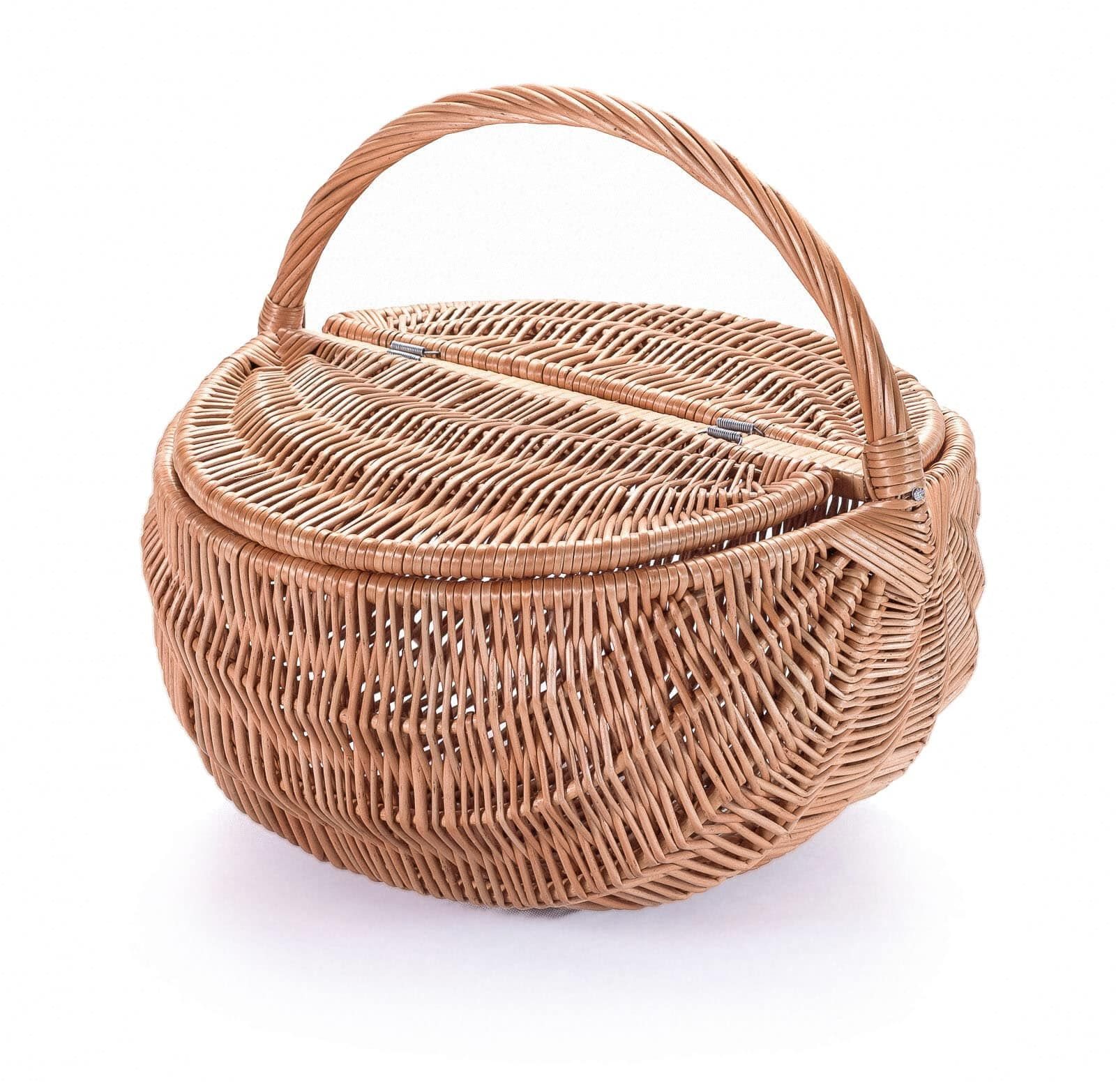 Round Wicker Baskets With Handle And Lid Large Willow Basket Hoohla Shop In 2020 Wicker Baskets Wicker Baskets With Handles Wicker