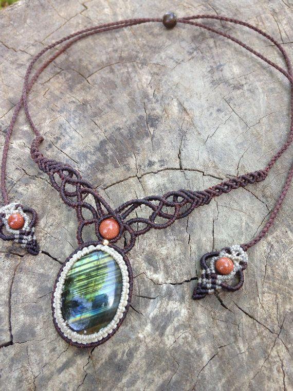 Labradorite micro macrame necklace,handmade macrame necklace,boho micro macrame…