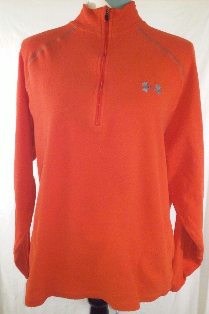 Under Armour UA Size Medium Fleece Pullover Half Zip Orange Sweater Jacket #Underarmour #fitness #running