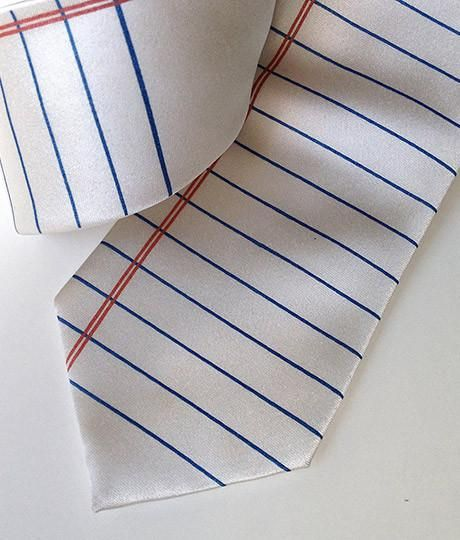 College Ruled Necktie Lined Paper Print Tie Pocket squares - Print College Ruled Paper